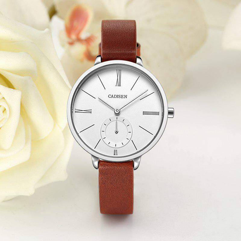 CADISEN C6135 Contracted Leather Band Quartz Women Watch - WHITE / SILVER