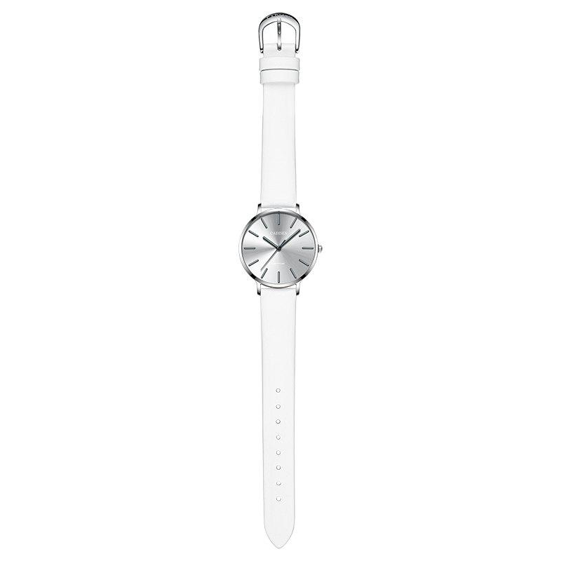CADISEN C6136 Women Leather Band Waterproof Quartz Watches - WHITE / SILVER