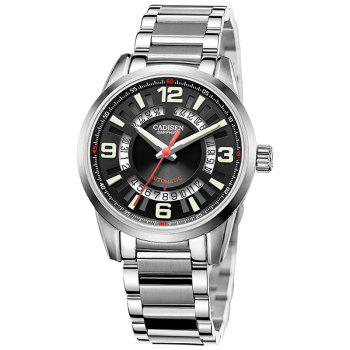 CADISEN C8100 Men Stainless Steel Case Automatic Wristwatch - BLACK + SILVER BLACK / SILVER