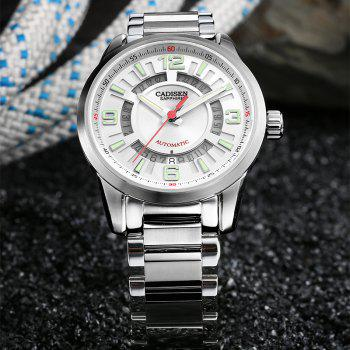 CADISEN C8100 Men Stainless Steel Case Automatic Wristwatch - WHITE / SILVER