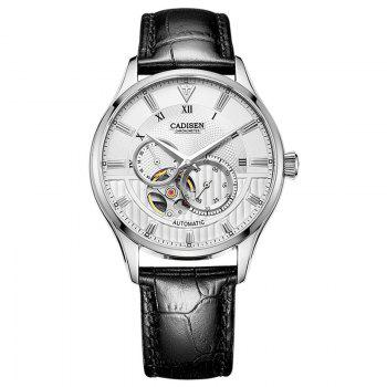 CADISEN C8111 Men Leather Band Automatic Wristwatch - WHITE + SILVER WHITE / SILVER