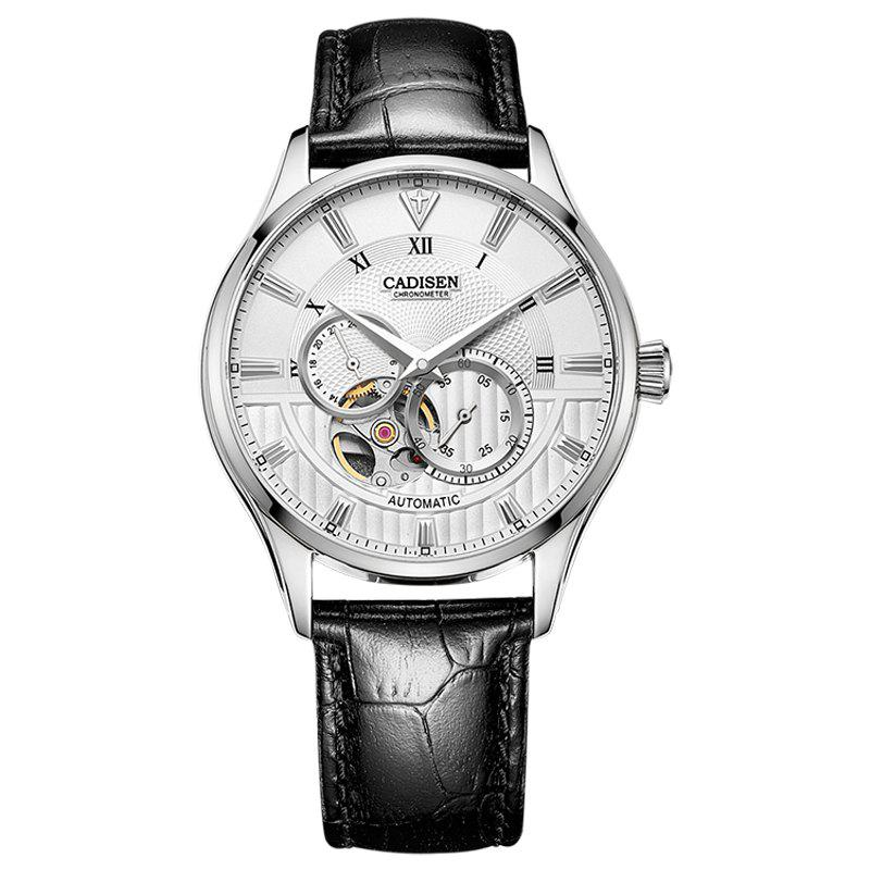 CADISEN C8111 Men Leather Band Automatic Wristwatch - WHITE / SILVER