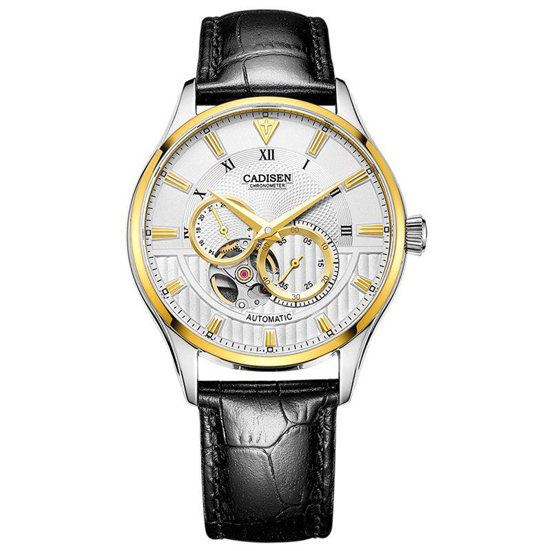 CADISEN C8111 Men Leather Band Automatic Wristwatch - WHITE / GOLD