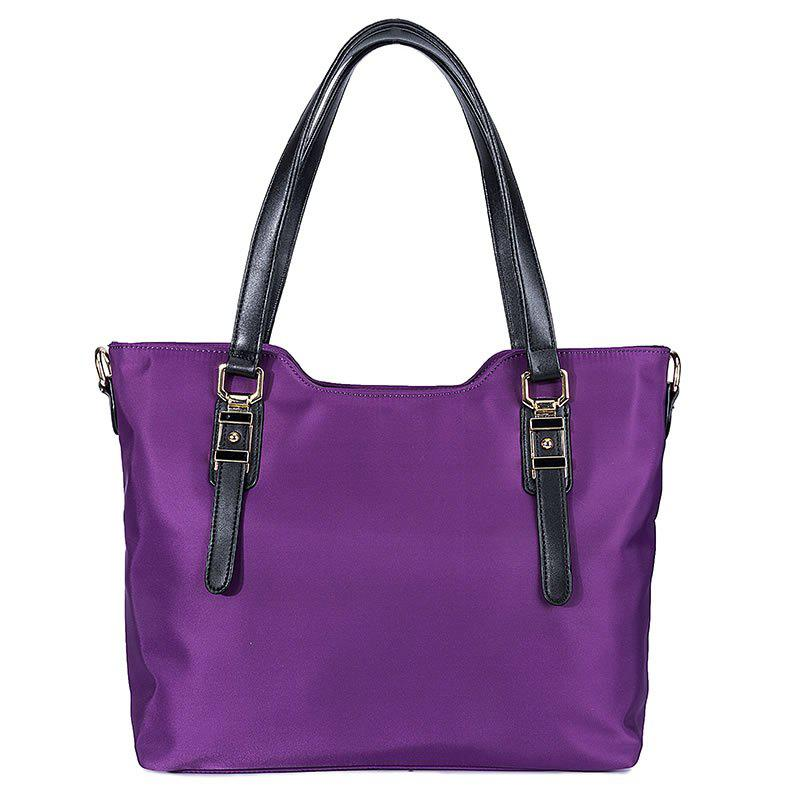 Oxford Textile Cloth Tote Bag Anti Wrinkle Waterproof Portable Large Capacity Durable Shoulder Diagonal Cross Hand Bag - PURPLE VERTICAL