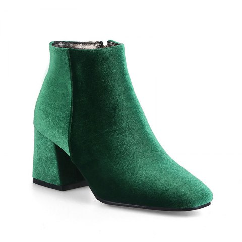 Women's Shoes Velvet Winter Fashion Square Toe Ankle Boots - GREEN 40