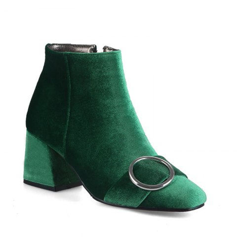 Women Shoes Suede Fashion  Zip Chunky Heel Square Toe Ankle Boots - GREEN 34