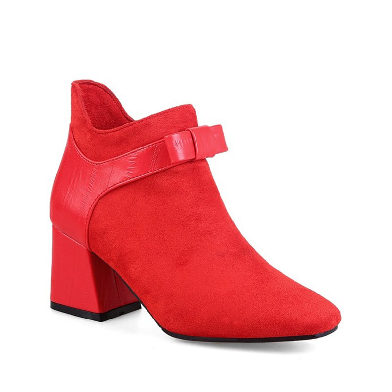 Women's Shoes Winter Fashion Bootie Square Toe Ankle Boots - RED 39