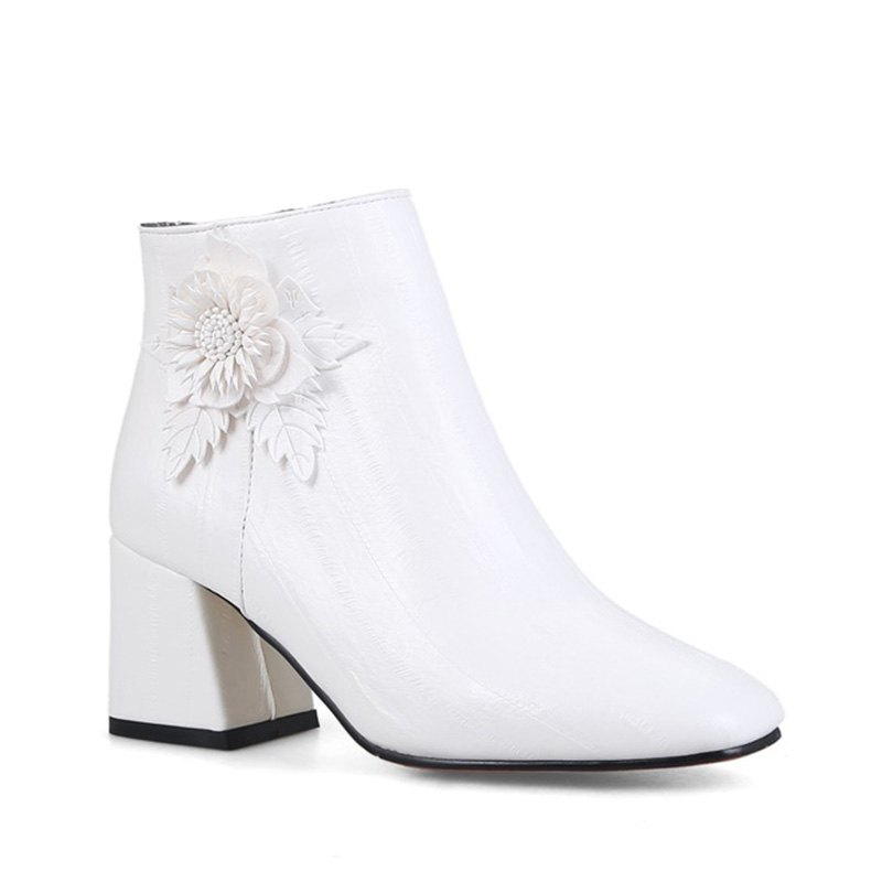 Women's Shoes Leatherette Winter Fashion Square Toe Booties Ankle Boots - WHITE 40