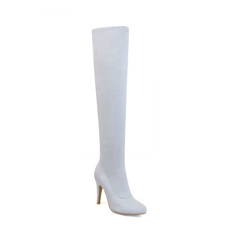 Women's Shoes Winter Fashion Slouch Pointed Toe Thigh-high Boots - GRAY 38