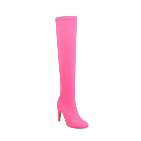 Women's Shoes Winter Fashion Slouch Pointed Toe Thigh-high Boots - RED 34