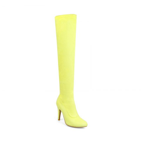 Women's Shoes Winter Fashion Slouch Pointed Toe Thigh-high Boots - YELLOW 39