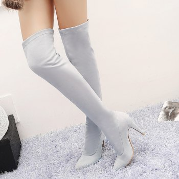 Women's Shoes Winter Fashion Slouch Pointed Toe Thigh-high Boots - GRAY GRAY