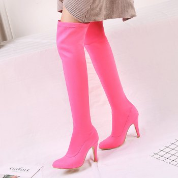 Women's Shoes Winter Fashion Slouch Pointed Toe Thigh-high Boots - RED RED