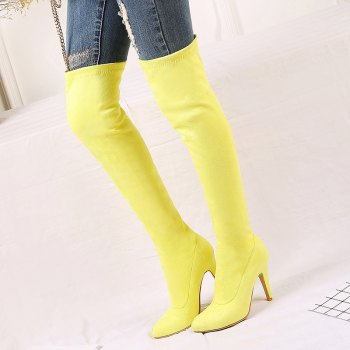Women's Shoes Winter Fashion Slouch Pointed Toe Thigh-high Boots - YELLOW YELLOW
