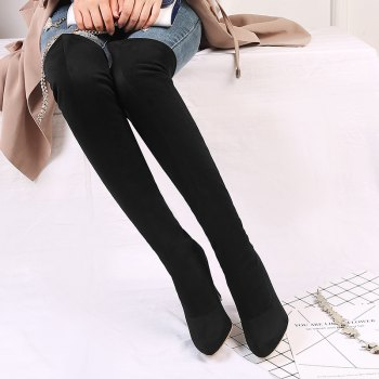 Women's Shoes Winter Fashion Slouch Pointed Toe Thigh-high Boots - BLACK 38