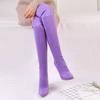 Women's Shoes Winter Fashion Slouch Pointed Toe Thigh-high Boots - PURPLE 37