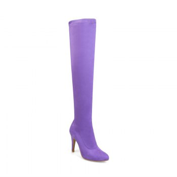 Women's Shoes Winter Fashion Slouch Pointed Toe Thigh-high Boots - PURPLE PURPLE