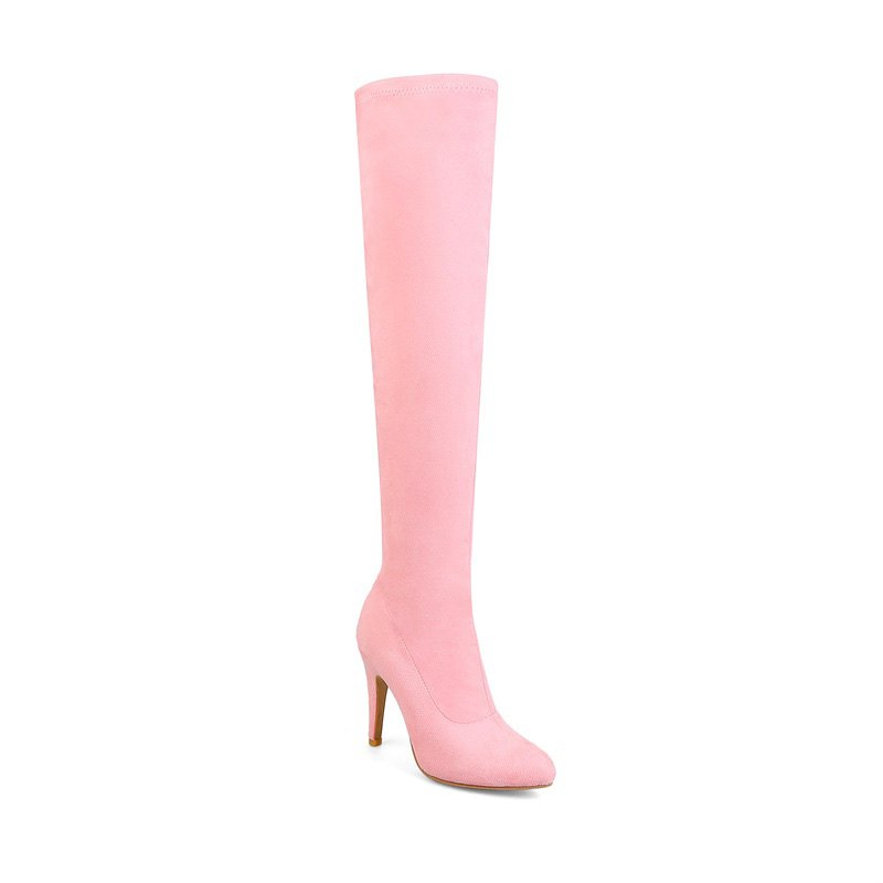 Women's Shoes Winter Fashion Slouch Pointed Toe Thigh-high Boots - PINK 36