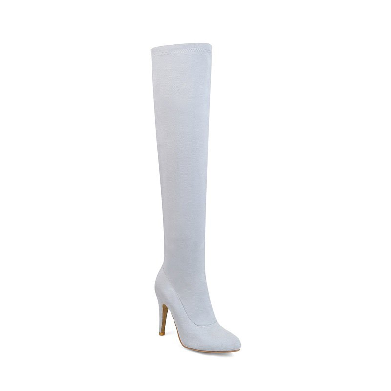 Women's Shoes Winter Fashion Slouch Pointed Toe Thigh-high Boots - GRAY 42
