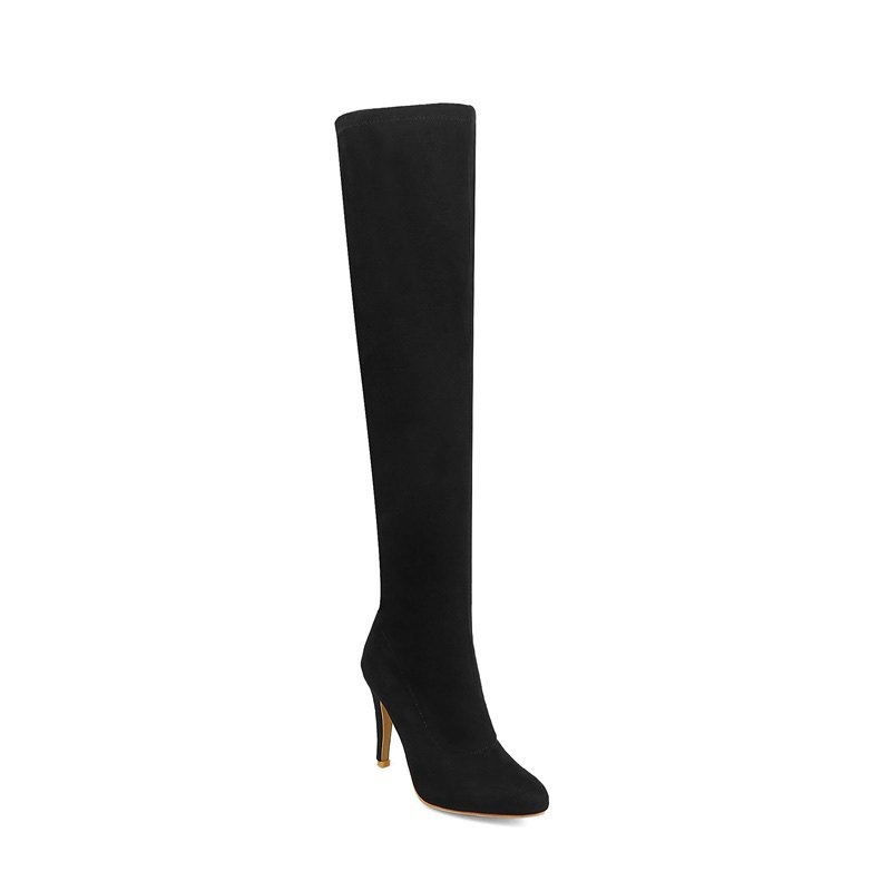 Women's Shoes Winter Fashion Slouch Pointed Toe Thigh-high Boots - BLACK 39