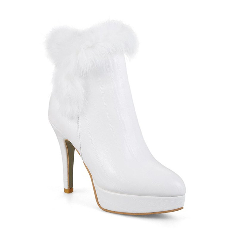 Chaussures pour femmes Similicuir Similicuir Hiver Pointu Toe Booties - Blanc 32