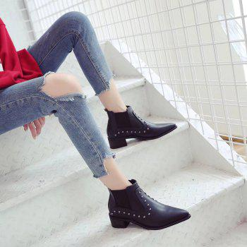Women Autumn Winter Fashion PU Leather Rivet Ankle Martin Flat Boots Block Thick Middle High Heel Shoes - BLACK 36