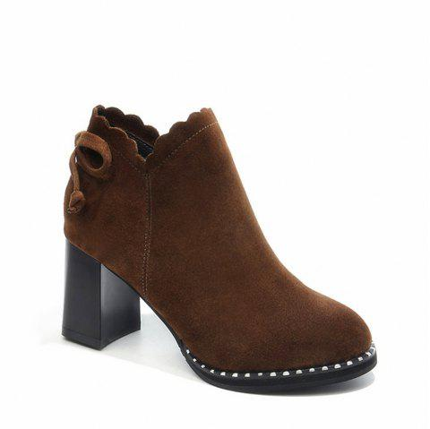 Women Autumn Winter Fashion Suede Leather Ankle Martin Block Thick Middle High Heel  Sexy Warm Boots Waterproof Shoes - BROWN 35