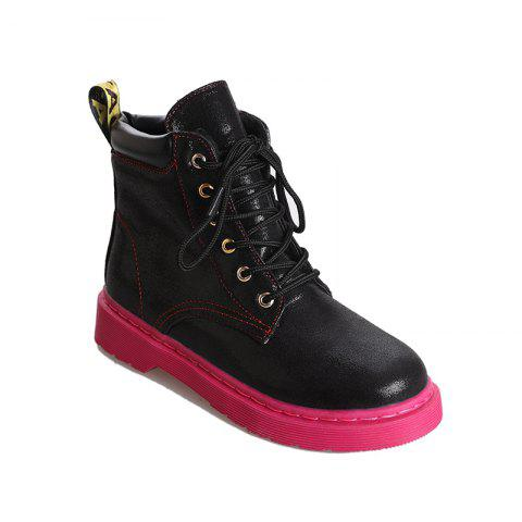 DG-A99With The Warm Cashmere Tie All-Match Martin Boots Shoes - BLACK 36