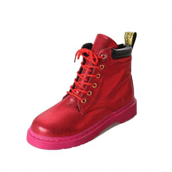 DG-A99With The Warm Cashmere Tie All-Match Martin Boots Shoes - RED 40
