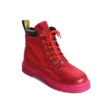 DG-A99With The Warm Cashmere Tie All-Match Martin Boots Shoes - RED RED