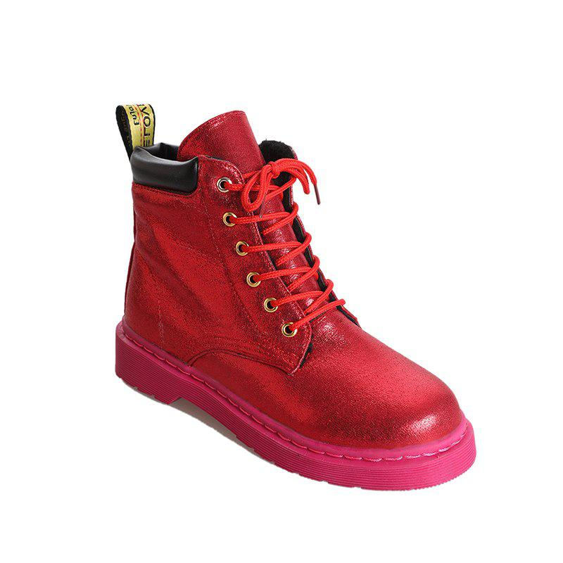 DG-A99With The Warm Cashmere Tie All-Match Martin Boots Shoes - RED 35