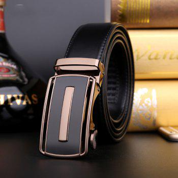 Men's Bussiness Leather Ratchet Belt with Automatic Adjustable Buckle G88972 - BLACK BLACK