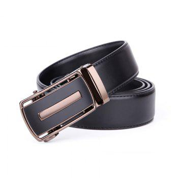 Men's Bussiness Leather Ratchet Belt with Automatic Adjustable Buckle G88972 - BLACK 125CM