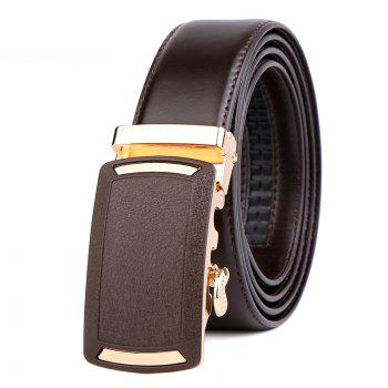 Men's Leather Belt  Dress Ratchet  with Nickel-free Automatic Buckle G89001 - BROWN BROWN