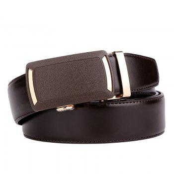 Men's Leather Belt  Dress Ratchet  with Nickel-free Automatic Buckle G89001 - BROWN 125CM