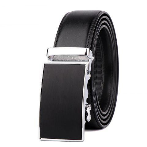 Men's Leather Bussiness Ratchet Belt with Nickel-free Automatic Buckle G89004 - BLACK/GOLD/BLACK 120CM