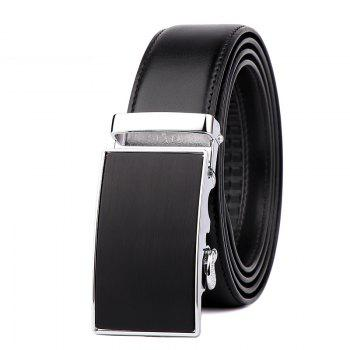 Men's Leather Bussiness Ratchet Belt with Nickel-free Automatic Buckle G89004 - BLACK+GOLD+BLACK BLACK/GOLD/BLACK