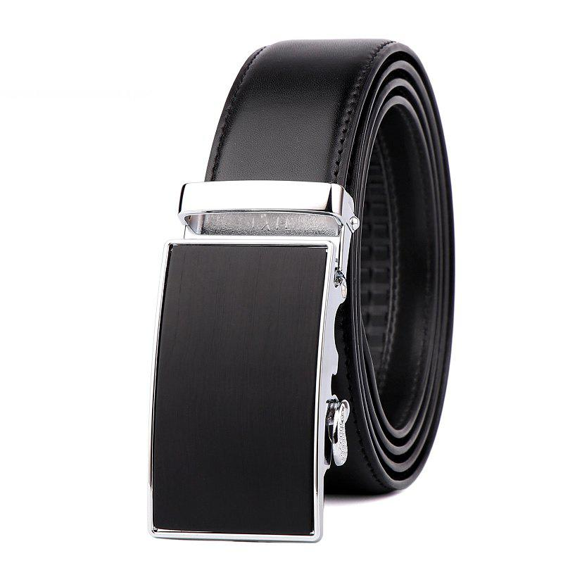 Men's Leather Bussiness Ratchet Belt with Nickel-free Automatic Buckle G89004 - BLACK/GOLD/BLACK 125CM