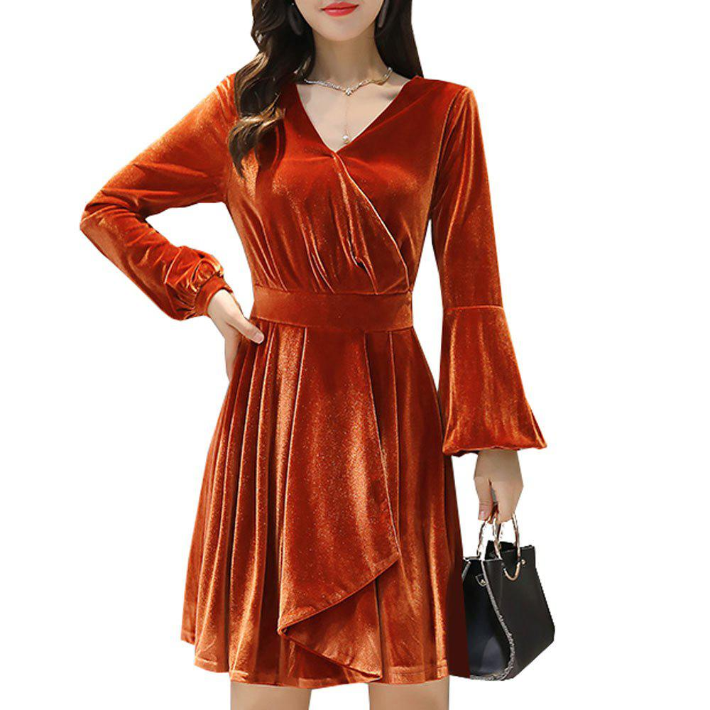 Women's Dress Solid Color Long Flare Sleeve V Neck Elegant Dress - ORANGE XL
