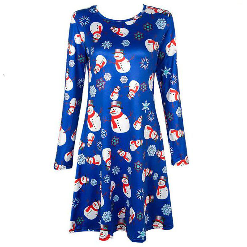 Women's  Long Sleeve Santa Snowman Print Christmas Swing Dress - BLUE M
