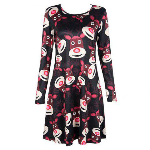 Women's  Long Sleeve Santa Fawn Print Christmas Swing Dress - BLACK L