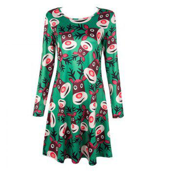 Women's  Long Sleeve Santa Fawn Print Christmas Swing Dress - GREEN GREEN