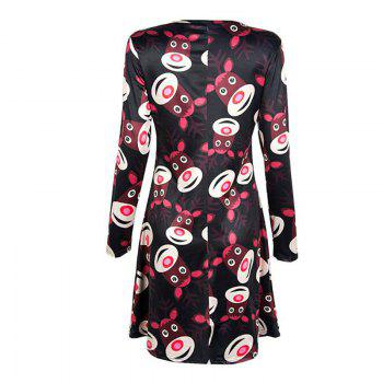 Women's  Long Sleeve Santa Fawn Print Christmas Swing Dress - BLACK BLACK