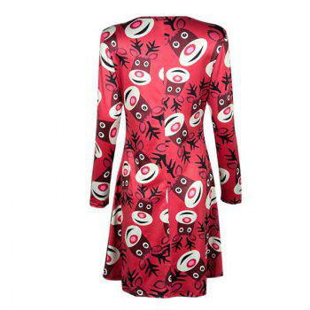 Women's  Long Sleeve Santa Fawn Print Christmas Swing Dress - RED M