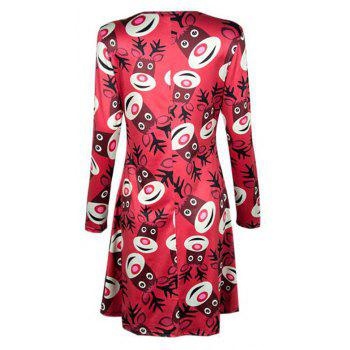 Women's  Long Sleeve Santa Fawn Print Christmas Swing Dress - RED S