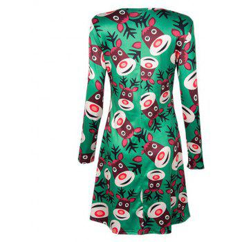 Women's  Long Sleeve Santa Fawn Print Christmas Swing Dress - GREEN XL