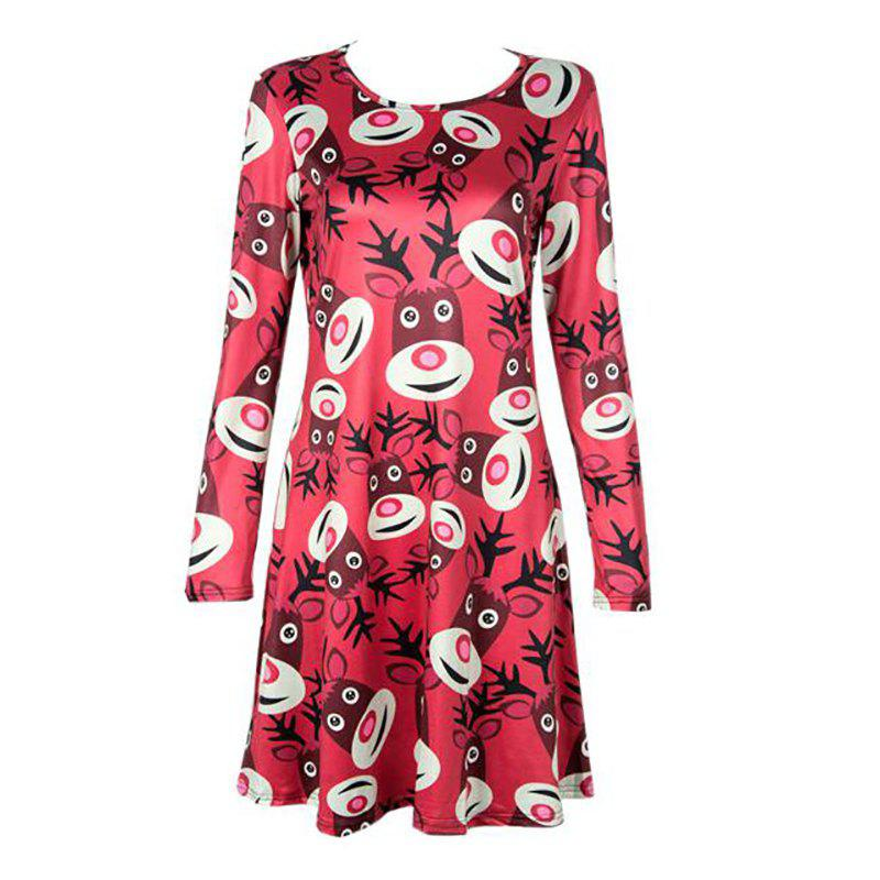 Women's  Long Sleeve Santa Fawn Print Christmas Swing Dress long sleeve santa print christmas mini swing dress