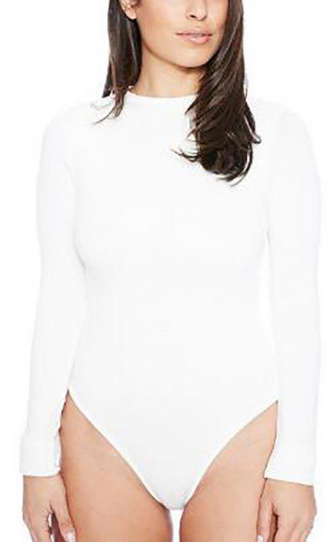 Round Neck Solid Long Sleeve Romper Jumpsuit - WHITE L