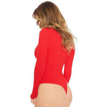 Round Neck Solid Long Sleeve Romper Jumpsuit - RED L