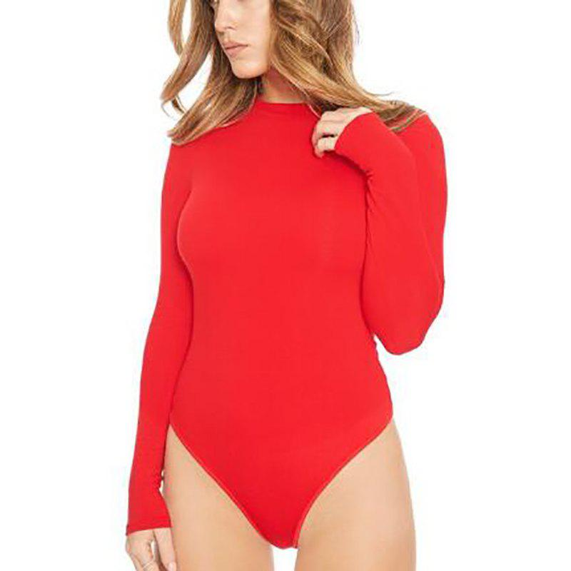 Round Neck Solid Long Sleeve Romper Jumpsuit - RED S